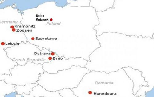 Map of timbre sites in Central and Eastern Europe